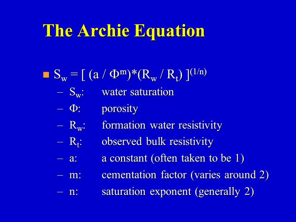 The Archie Equation Sw = [ (a / Fm)*(Rw / Rt) ](1/n)